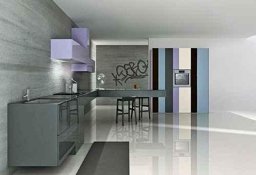 Moje představa o kuchyni - Tak tohle mi doma asi neprojde:-)ale líbí, šedá s tou fialkovou to je nádherná kombinace barev,:-)