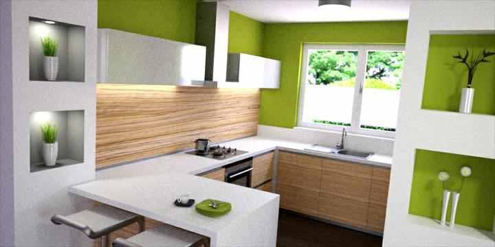 Moje představa o kuchyni - poličky v nice budou vedle lednice