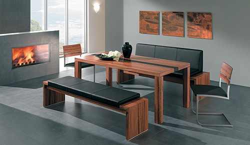 Moje představa o kuchyni - Začíná se mi hrozně líbit kombinace lavice + židle k jídelnímu stolu:-)