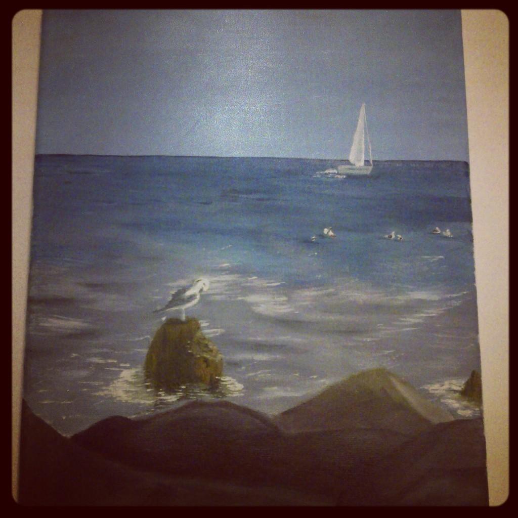 Kdo si hraje nezlobí :) - a další ptáček do ložnice, já a barvy nejdeme moc dohromady, tak mi mamka darovala lekci malování  :-) už jen zarámovat...ps: podle fotky z dovolené ve Francii :-)