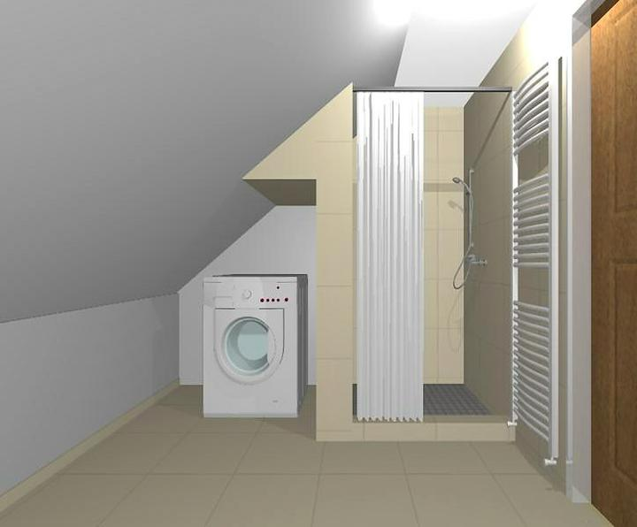 Naša podkrovná kúpeľňa - Vizualizácia 2 - tu bude práčka