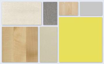 Žltá, šedá, krémová a svetlé drevo