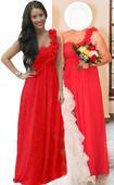 Červené šaty na jedno rameno, 42
