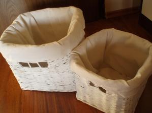 Sada bielych košíkov darček pre Mišku a jej babatko - 25x25x25 cm a 20x20x20 cm