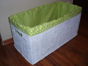 biely kosik so zelenou textilnou vložkou - 29x59x30 cm