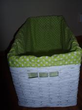 Biely kosik so zelenou textilnou vložkou - 59x29x30 cm