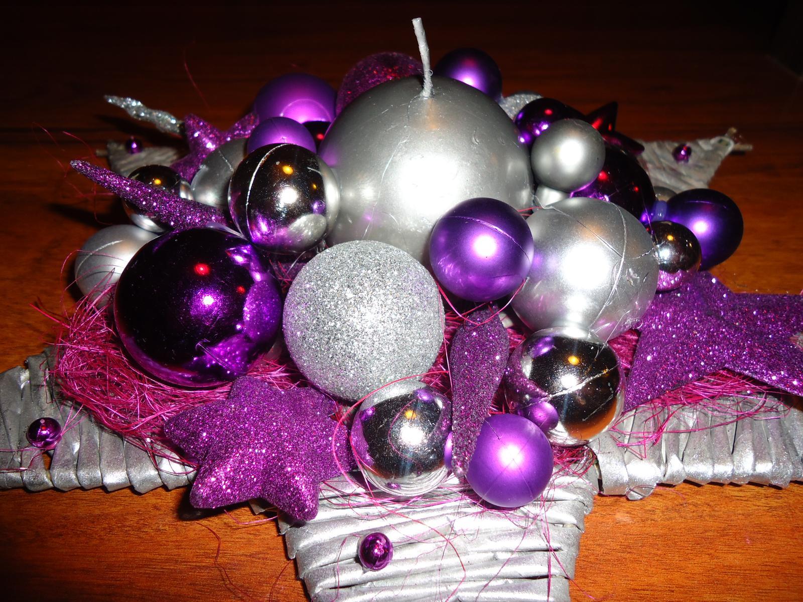 Vianočné pletenie z papiera - hviezda  - priemer 35 cm - strieborno-fialová