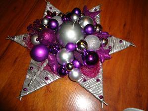 hviezda  - priemer 35 cm - strieborno-fialová