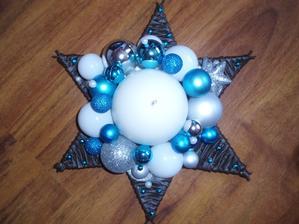 vianočná hviezda - bielo-tyrkysovo-strieborná