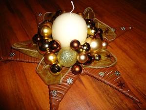vianočna hviezda - zlato-medena