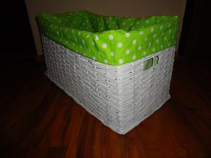 biely kosik so zelenou textilnou vložkou - 30x60x30 cm