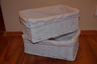biele košíčky - 38x26x14 cm