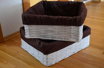 biele košíky s hnedou látkou - 40x47x18 cm