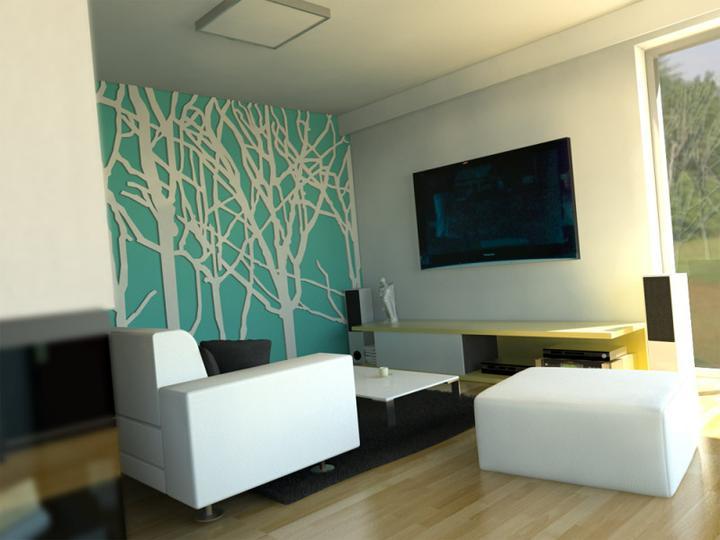 Tyrkysová ložnice - inspirace - Takhle by mohla vypadat naše zeď v ložnici za postelí...