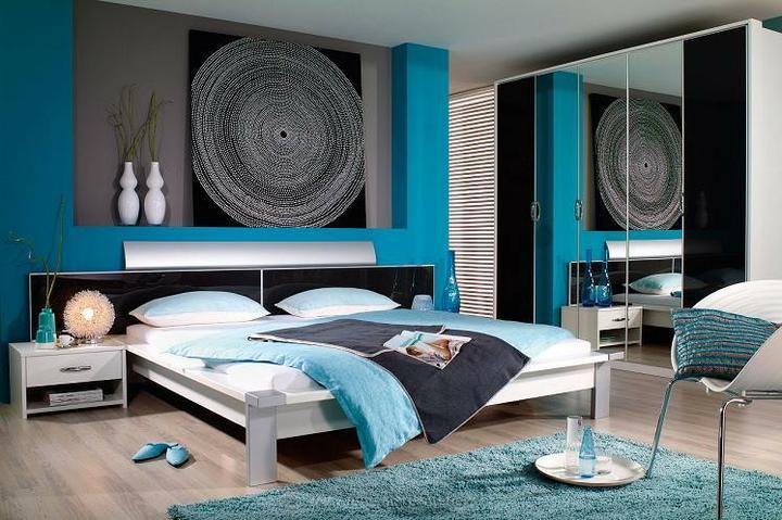 Tyrkysová ložnice - inspirace - Taky super:-)