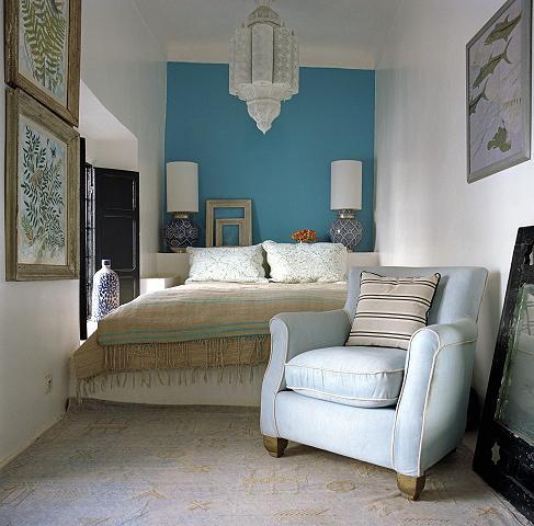 Tyrkysová ložnice - inspirace - Tak nějak by to mohlo vypadat i v naší ložnici.
