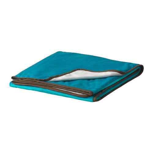Tyrkysová ložnice - inspirace - Místo přehozu na postel.