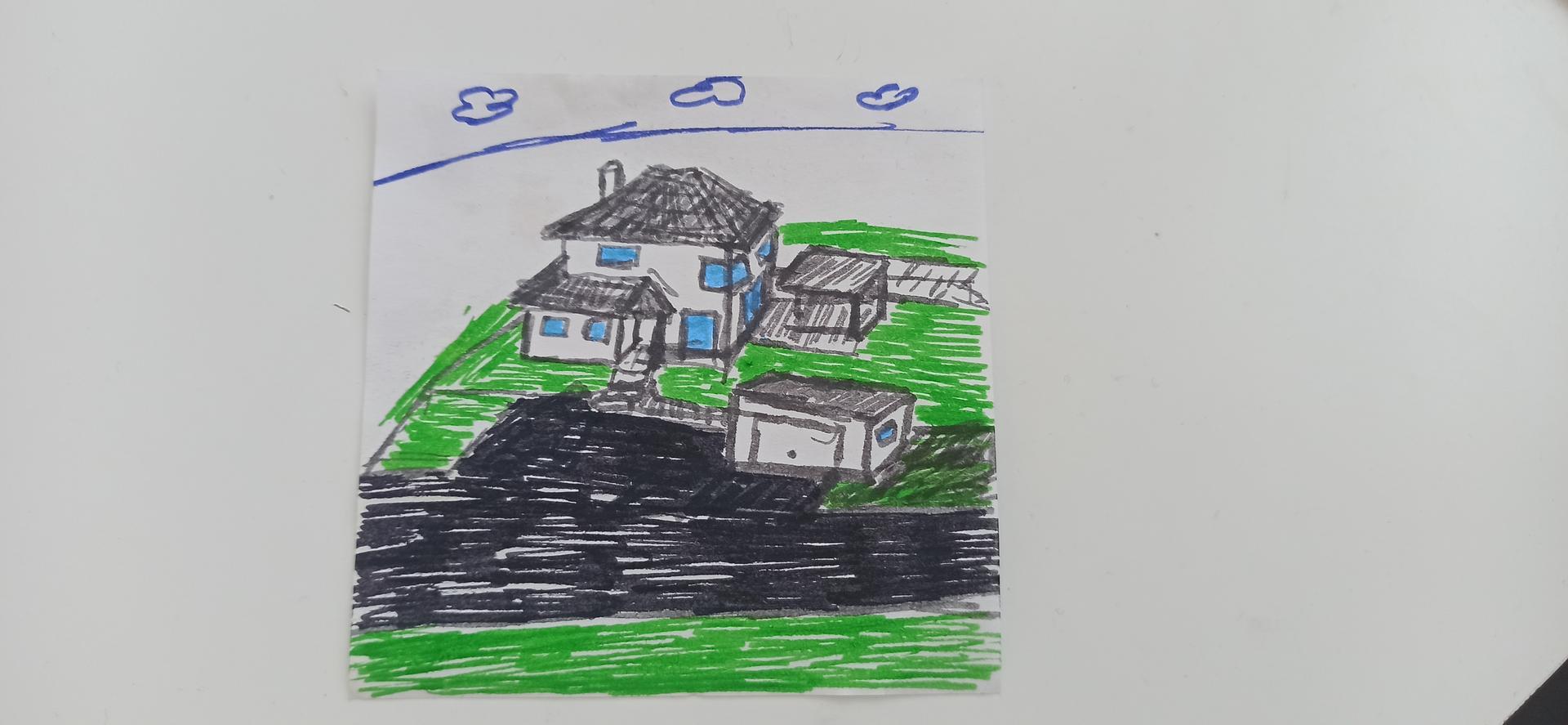 Náš domček ❤️🏡 - Manželov výtvor. Dokreslil projekt garáže aj altánku pri dome. Ale je šikovný 😊 hneď si to viem lepšie prestaviť.