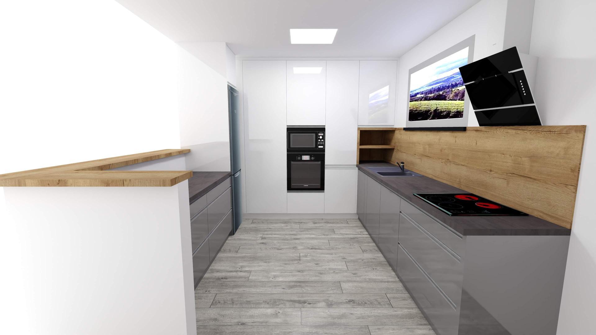 Vizualizácie kuchyne a kúpeľne - Návrh č.1. Ktorý sa vám páči viac?