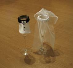 vlastná výzdoba svadobných pohárikov...