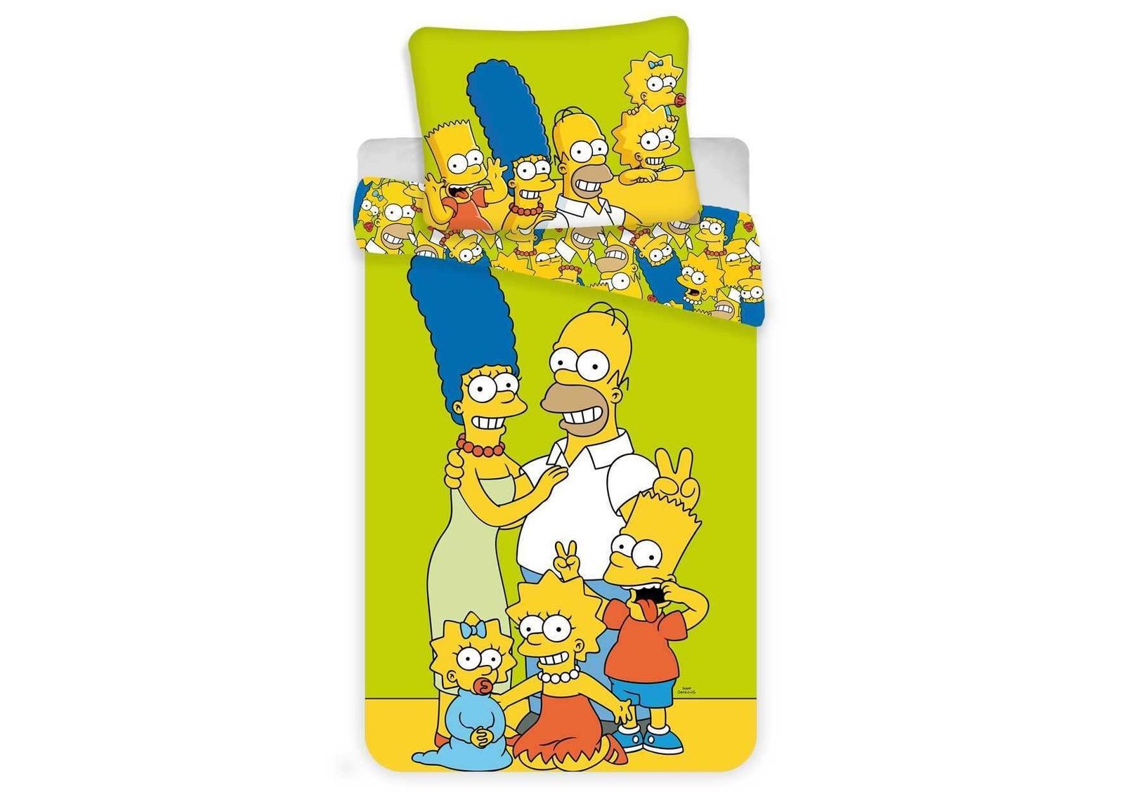 Aby Vaše děti usínaly se svými hrdiny - Bavlněné povlečení Simpsons yellow green