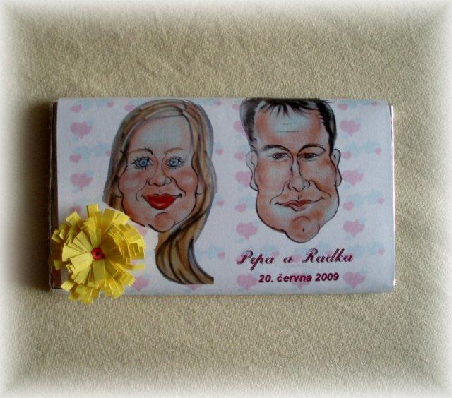 Bílo-Žůžová - naše svatební čokoládka-vlastní výroba