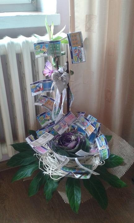 """Ako originálne darovať peniaze či žreby + originálne darčeky - Tuto """"výhernú"""" kvetinku darovala ako darček 4stanka4 :-)"""