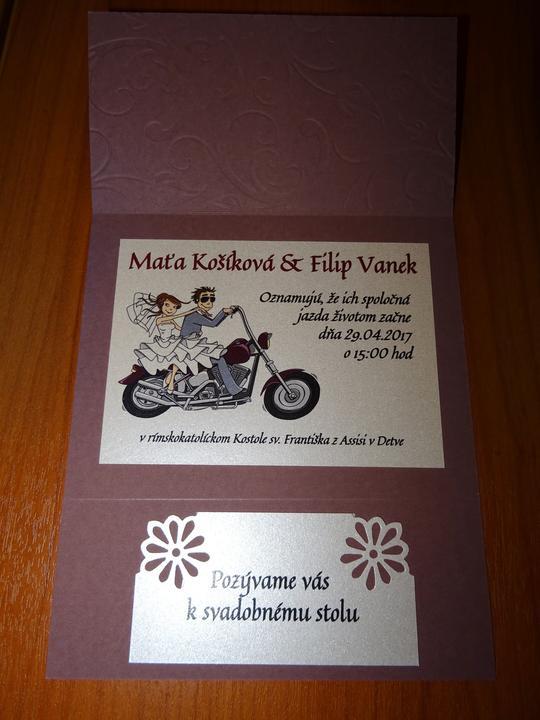 Svadba v štýle motoriek - A toto krásne oznamko si sama nakreslila nevesta @mkolin