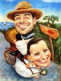 exotická svatba barevná karikatura