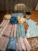 Modrobílé svatební dekorace,
