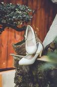 Biele jednoduché svadobné topánky, 38