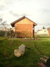 vlevo podél plotu zl.déšť, weigelia, 3 rybízy, maliní