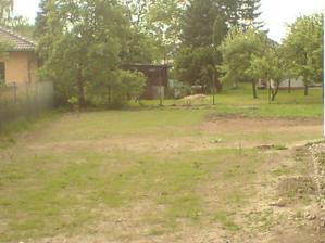 první pokus o trávník z jižní strany podél domu do zahrady - budeme dosévat a dosévat