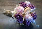 Saténová svatební kytice,