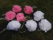 Pompon bílý a světle růžový (5+5ks),