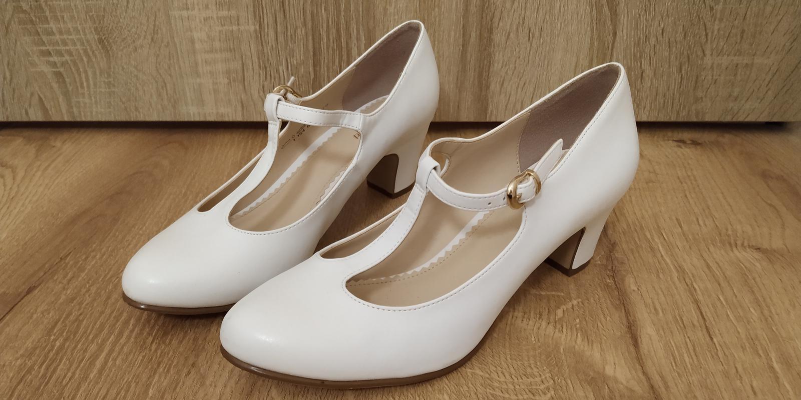Dámske svadobné biele lodičky - Obrázok č. 1