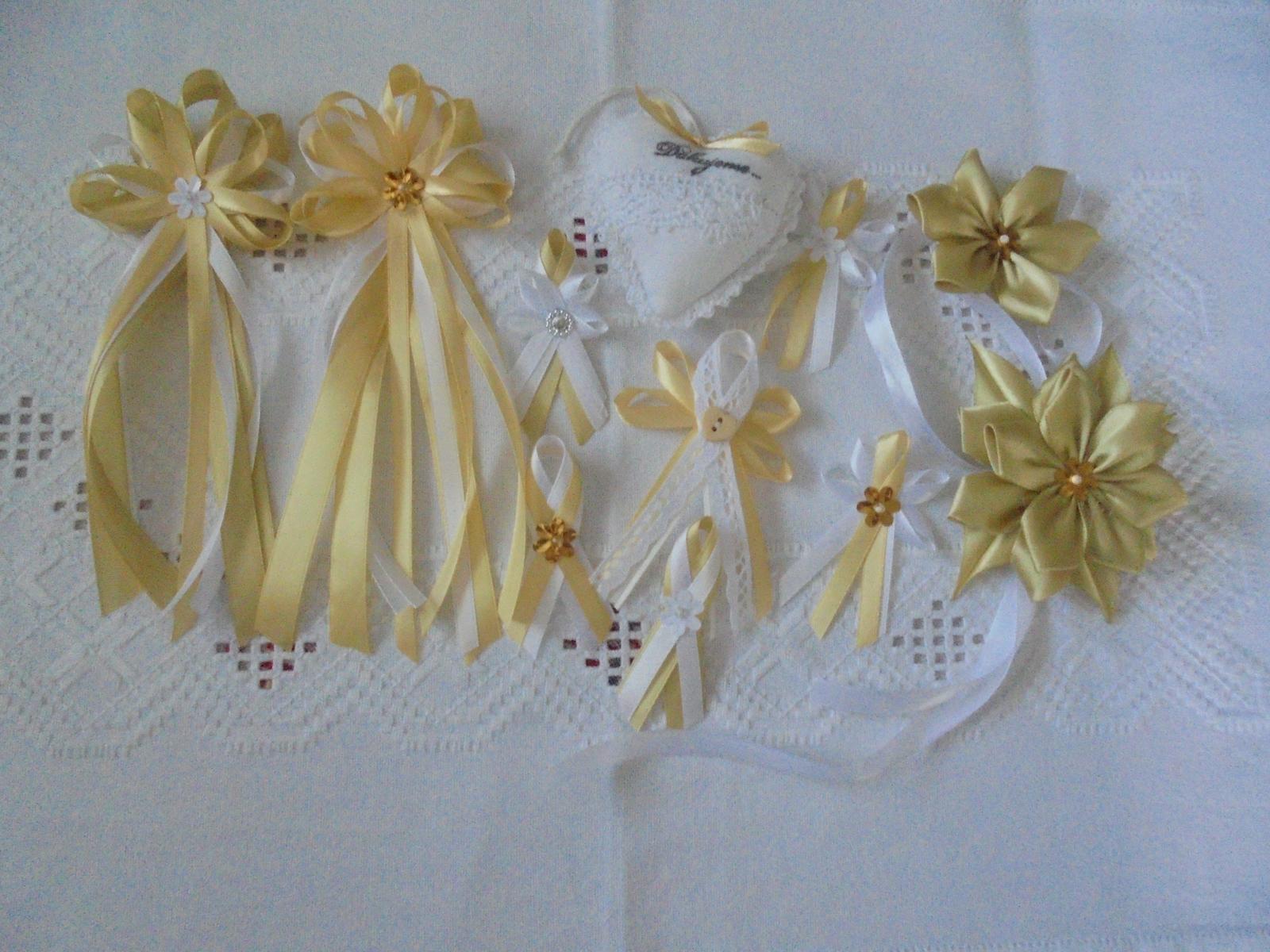 Svadobná dekoracia bielo-zlatá - Obrázok č. 5
