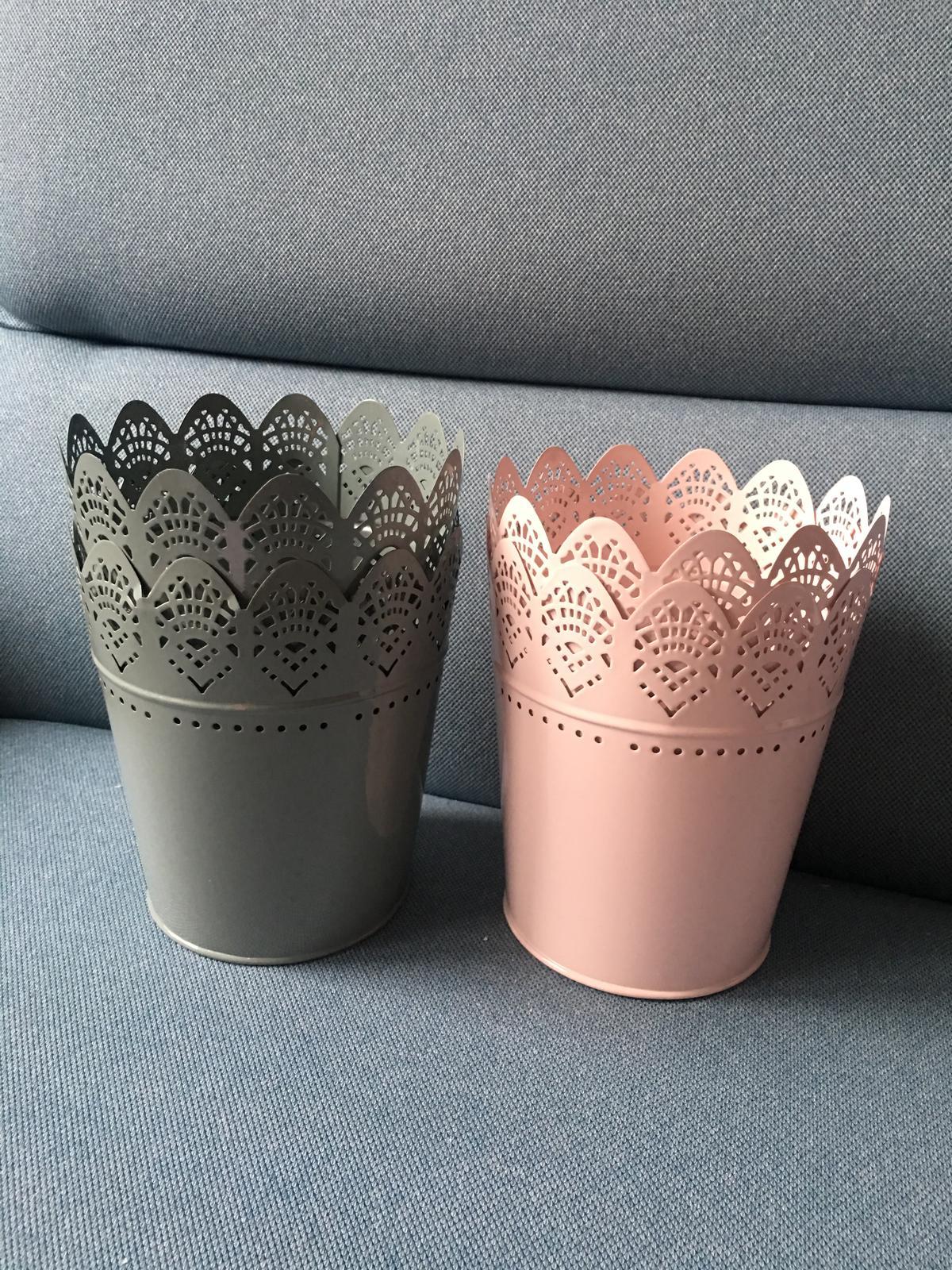 Květináč/obal/svícen světle růžová a šedá 15 cm - Obrázek č. 1