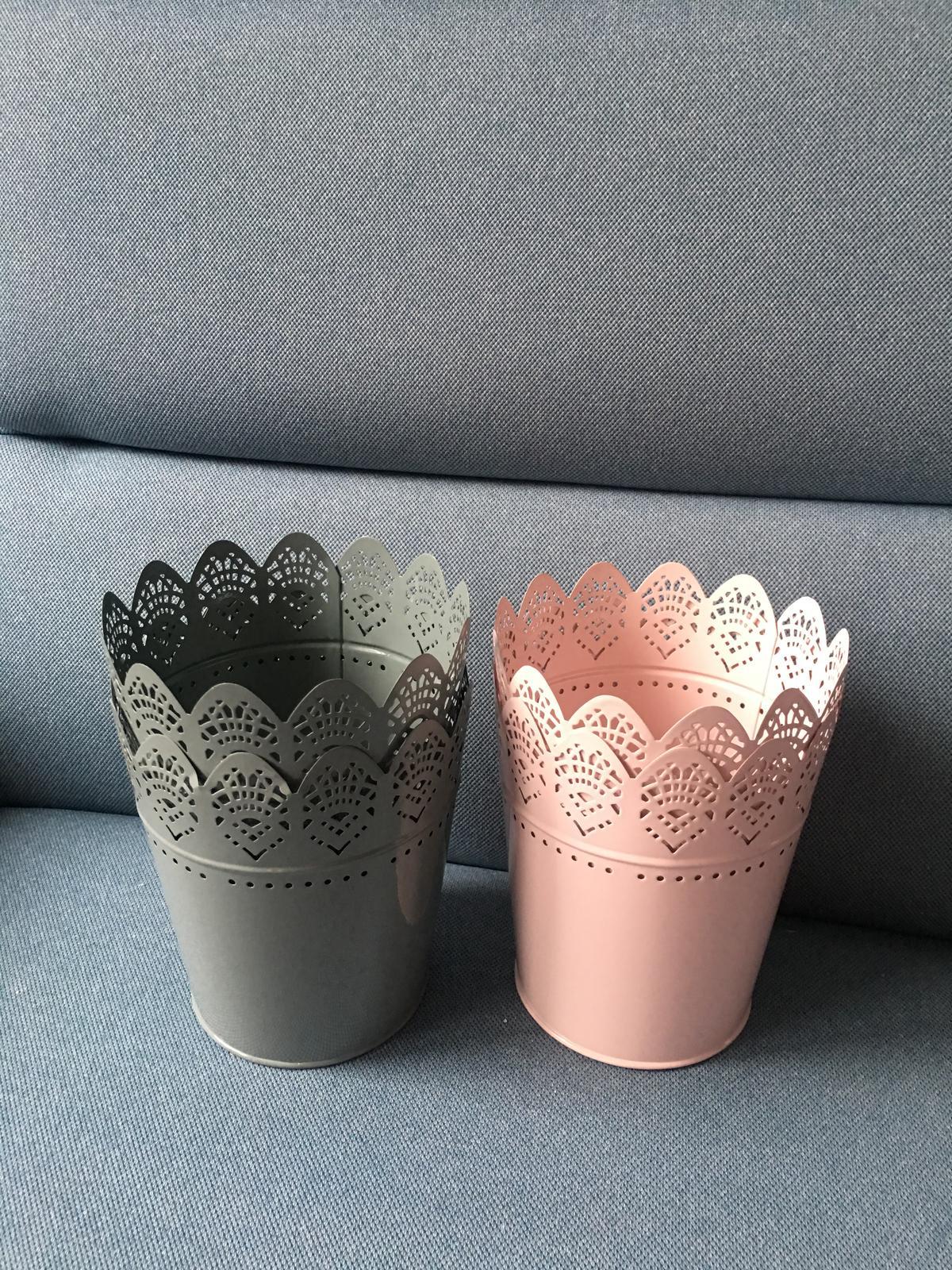 Květináč/obal/svícen světle růžová a šedá 15 cm - Obrázek č. 2
