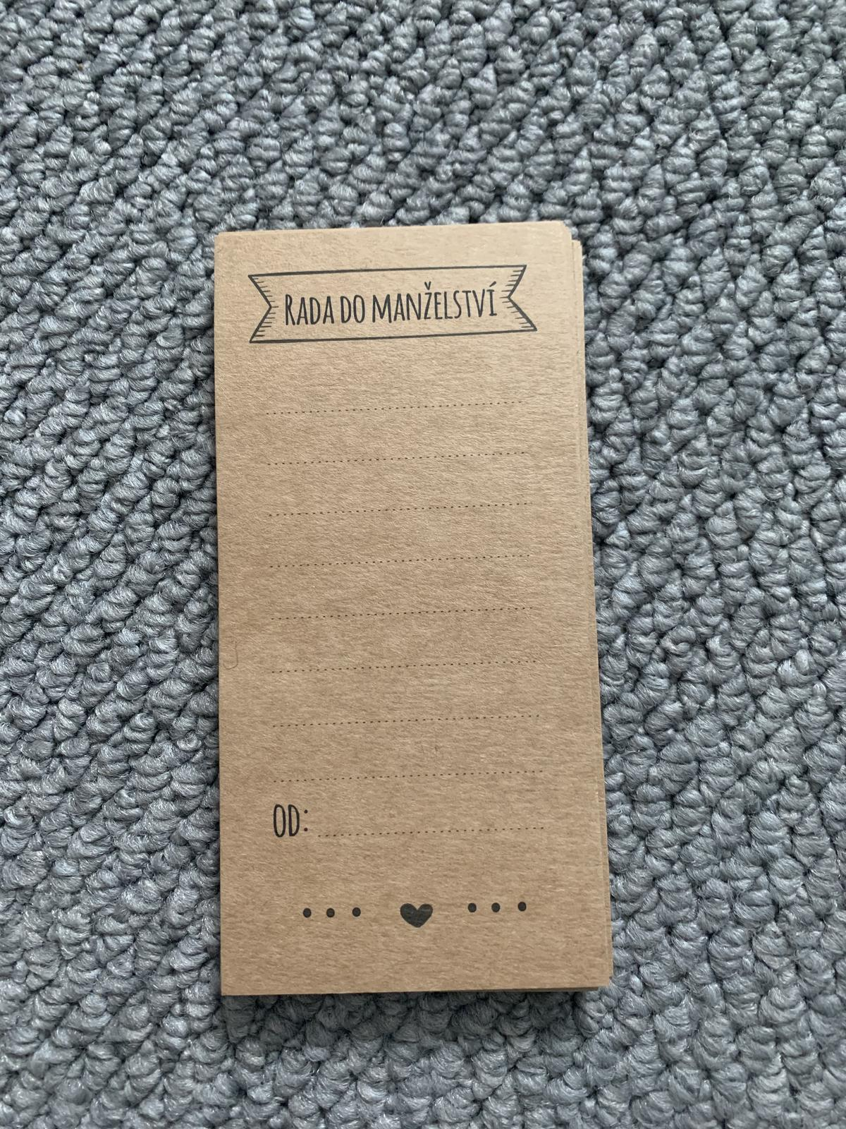 Rady manželům - kraftové kartičky - Obrázek č. 1