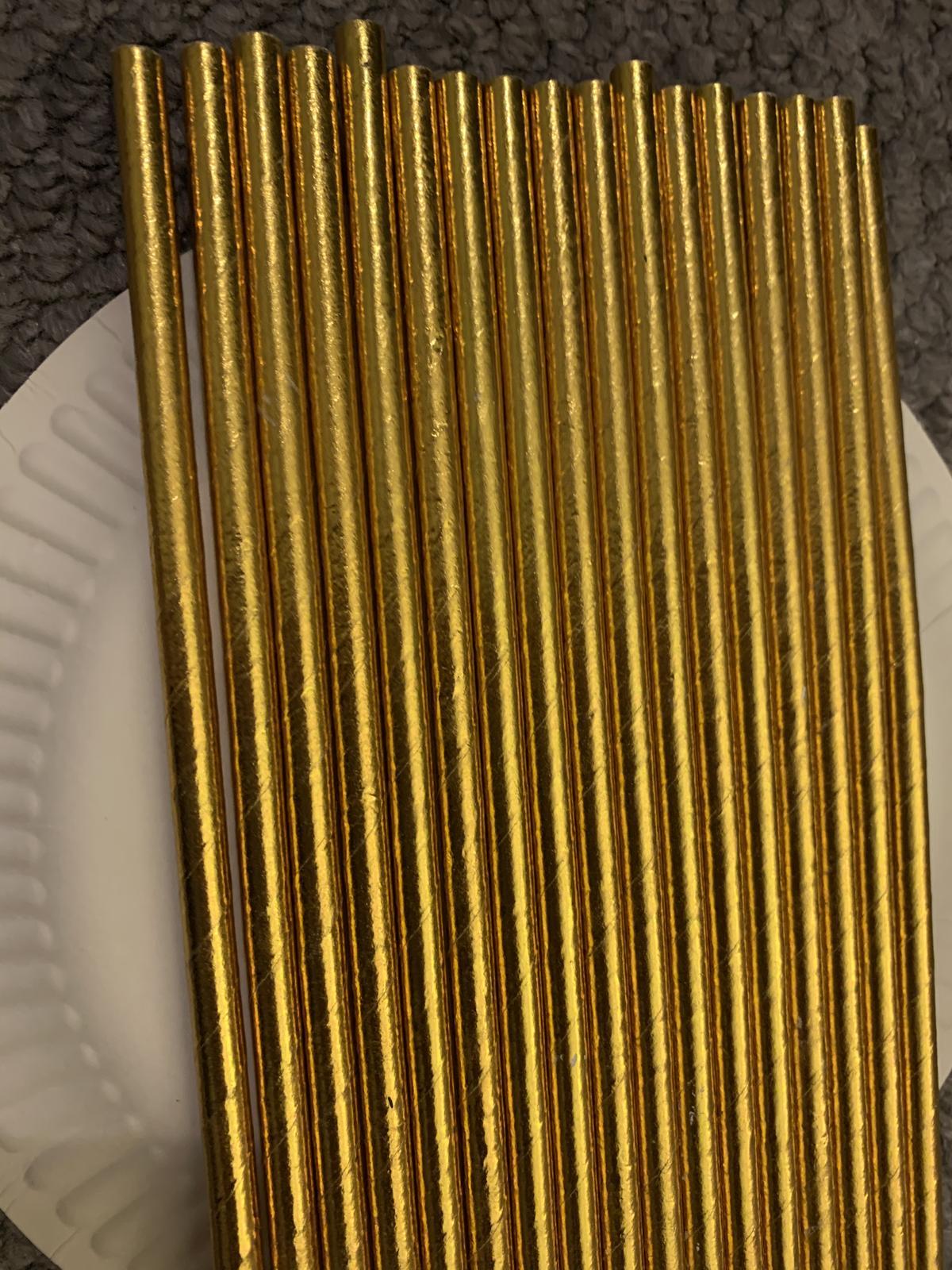 Zlatá a zlato-bílá papírová brčka - Obrázek č. 2