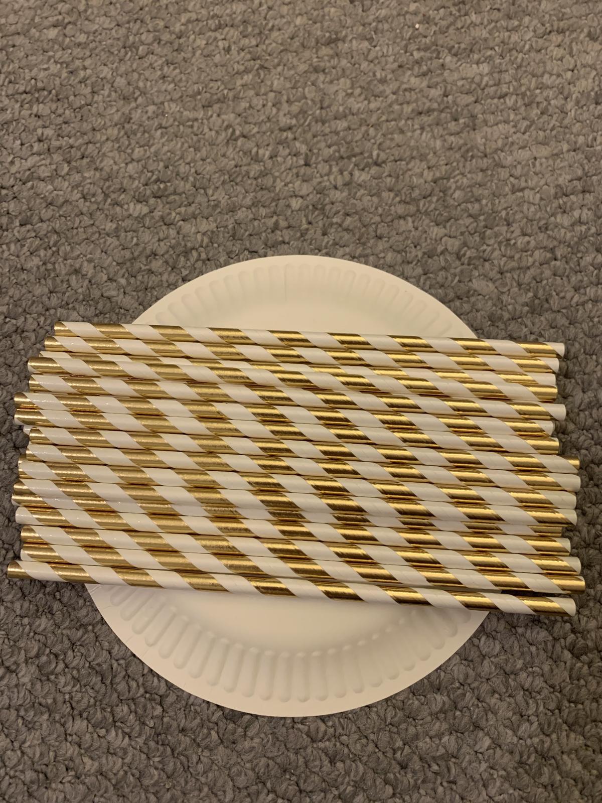 Zlatá a zlato-bílá papírová brčka - Obrázek č. 3