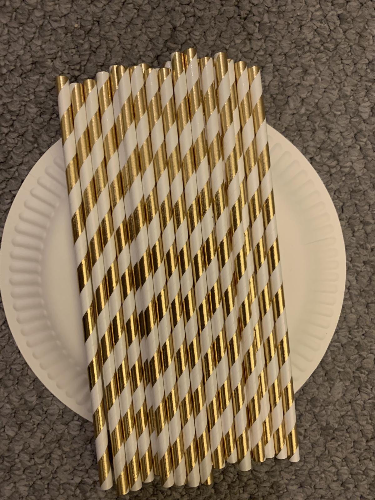 Zlatá a zlato-bílá papírová brčka - Obrázek č. 4