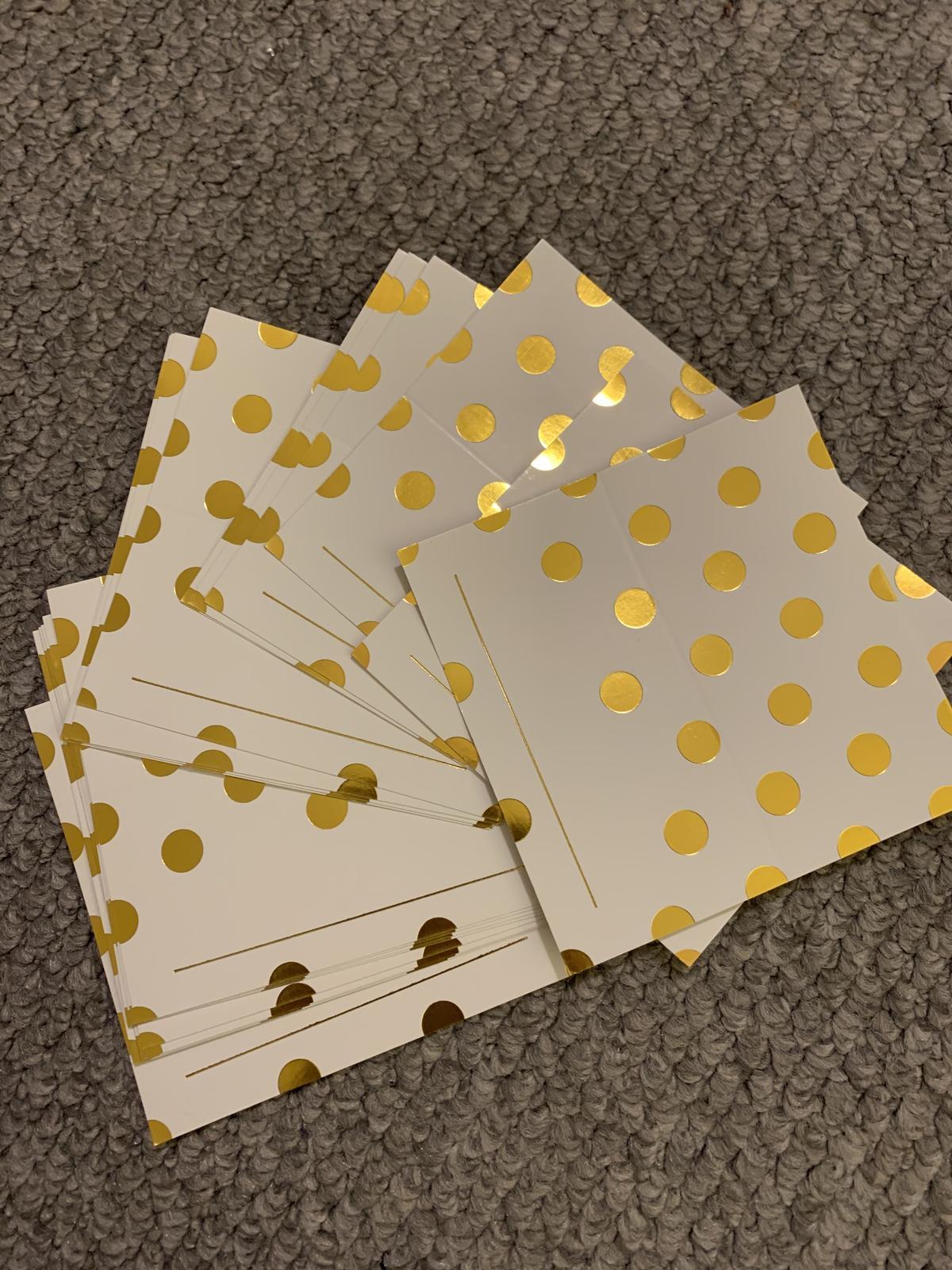 Kartičky  zlato-bílé  - Obrázek č. 3