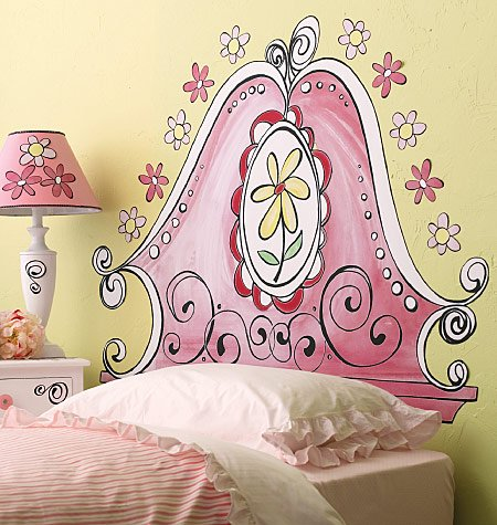 Inšpirácie - dievčenské izby - maľované záhlavie