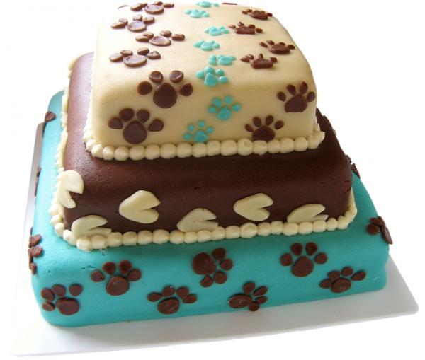 Co se nám líbí, co chceme a co mít budeme :-) - Tvar ani barvy ne, ale ty psí stopy, to nám na dortu nemůžou chybět