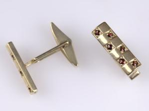 Manžetové knoflíčky pro ženicha - originál český granát