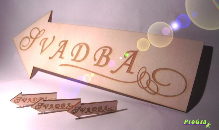 Detaily pre Váš svadobný deň - šípka rozmerov 40x15x0,3 cm