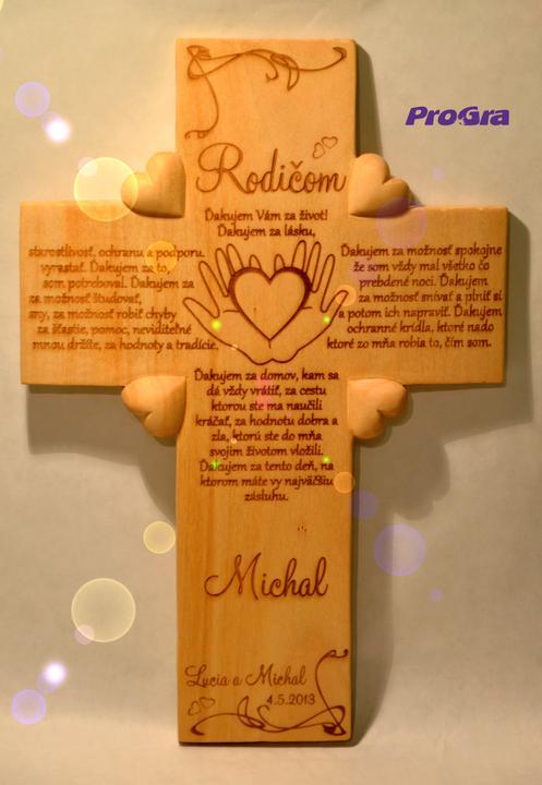 Svadobné krížiky - svadobný krížik s poďakovaním rodičom - varianta od ženícha