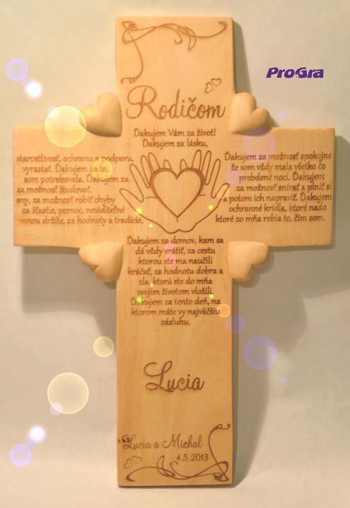 Svadobné krížiky - svadobný krížik s poďakovaním rodičom - varianta od nevesty